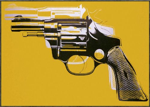ART - POP ART GUN YELLOW canvas print - self adhesive poster - photo print